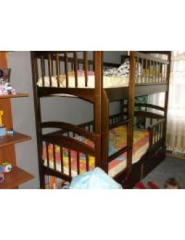 Кровать двухъярусная  - Твайс, самая низкая цена от производителя. С удобной лестницей (горизонтальные ступеньки), из натурального цельного дерева, есть на складе, лучшие условия напрямую от производителя. Бесплатный выбор цвета и лестницы. Акция!!!