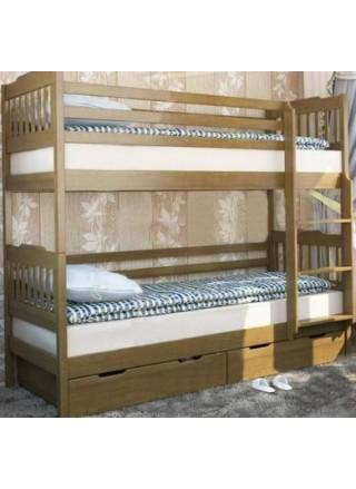 """Двухъярусная кровать """"Ева"""" с удобной лестницей, ящики и матрасы (горизонтальные ступеньки)"""